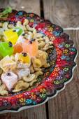 Turkish delight with colorful chocolate seeds and cashew nuts — Stock Photo