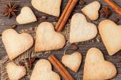 Variety of homemade heart shaped cookies gift for valentines day — Stock Photo