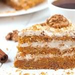 Slice of tasty gourmet vegetable carrot cake dessert food with sweet cream walnut cinnamon and raisins — Stock Photo #68482031