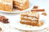 Slice of baked easter carrot cake with raisins and walnut — Fotografia Stock