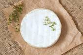Camembert cheese traditional Normandy French gourmet round dairy product delicious food with thyme on rustic parchment — Stock Photo