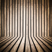 Vertical wooden strip room perspective background — Stock Photo