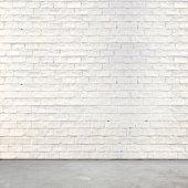 Muro di mattoni bianchi e pavimento di cemento — Foto Stock