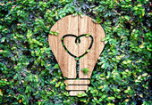 Light Bulb wood icon — Foto Stock