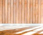 Parede de madeira com acabamento de cimento — Fotografia Stock