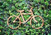 Wood texture Bicycle icon — Stock Photo
