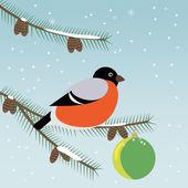 Bird a bullfinch on a fir-tree branch описание — ストックベクタ
