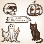 Set consists of pumpkin, black cat, skull and ghost. Halloween t — Stock Vector #53353383