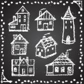Set of snowbound chalk painted houses with ornament element. Win — Stock Vector
