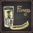 Fitness cocktail with banana. — Stock Vector #59807031