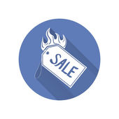 Sale tag with spurts of flame — Stock Vector