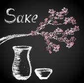 Sakura twigs and tableware — Stock Vector