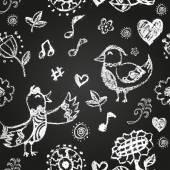 Chalk painted birds — 图库矢量图片