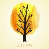 Watercolor autumnal tree — Stock Vector