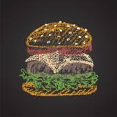Chalk painted cheeseburger. — Stock Vector
