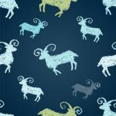 Pattern with colorful goats — Stock Vector