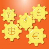 Coins and gears — Stock Vector