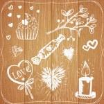 Giz pintado de corações, velas, doces e planta — Vetor de Stock  #64766067