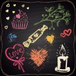 Chalk painted hearts, candle, candies and plant — Stockvector  #64765963