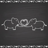 Couple of enamored elephants. — Stock Vector