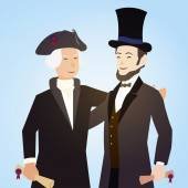 Washington and Lincoln for presidents day. — Stock Vector