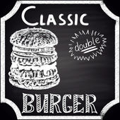 Classic double burger. — Stock Vector