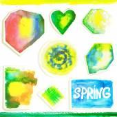Set of watercolor elements. — Stock Vector