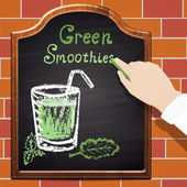 Green smoothie on black chalkboard — Vector de stock