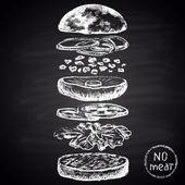 Ingredients of vegetarian burger. Infographic. — Stock Vector