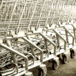 Shopping carts on a parking lot — Stock Photo #80475600