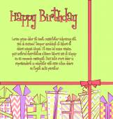 Vector birthday card with gift boxes in different wrappings with ribbons and bows — Vector de stock