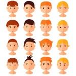 Vector set of cartoon avatar flat boy icons — Stock Vector #52796023