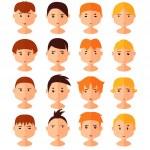 Vector set of cartoon avatar flat boy icons — Stock Vector