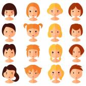 Vector set of cartoon avatar flat girls icons — Stock Vector
