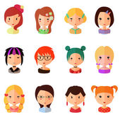 Vector set of cartoon avatar flat girls icons — Stock Vector