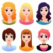 Vector avatar set with beautiful cartoon women faces — Stock Vector #55022063
