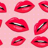 Seamless lips pattern over pink — Stock Vector