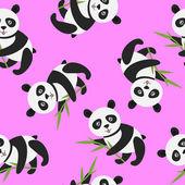 Lindo panda con bambú — Vector de stock
