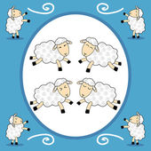 Frame - funny sheep over blue background — Stock Vector