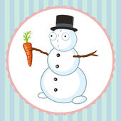 Crazy snowman with orange carrot — Stock Vector