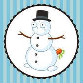 Crazy crying snowman with carrot — Vector de stock