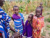 Maasai children in a cornfield — Stock Photo