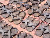 Sandals made of old tires — Stock Photo