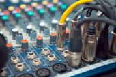 The connectors are connected to the sound mixer sound recordist — Stock Photo