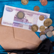 Постер, плакат: Marine theme blue background Tie bow and money from the mail envelope