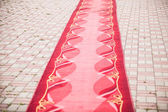 Red carpet on the pavement — Stock Photo