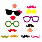 Photobooth Birthday and Party Set - glasses, hats, crowns, masks, lips, mustaches — Foto de Stock