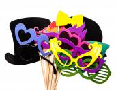 Photobooth Birthday and Party Set - glasses, hats, crowns, masks, lips, mustaches — Stock Photo