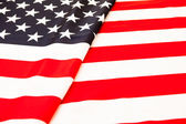 American flag. Pure linen fabric flag carefully folded. — Stock Photo
