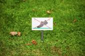 Prohibiting sign on the lawn. On the lawn do not walk — Stockfoto
